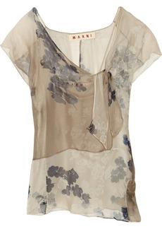 Marni Printed silk-chiffon top