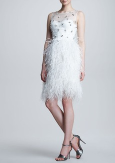Lela Rose Embroidered Feather-Skirt Dress