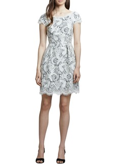 Shoshanna White Lace Cap-Sleeve Dress