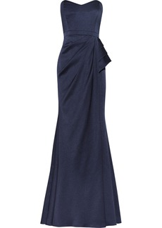 Badgley Mischka Textured satin-crepe gown