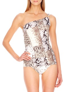 MICHAEL Michael Kors Snake-Print One-Shoulder Swimdress