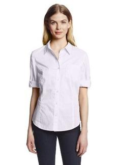 Jones New York Women's Fitted Roll Elbow Sleeve Shirt