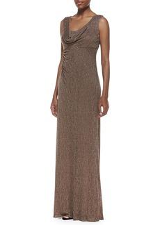 David Meister Sleeveless Draped-Neck Metallic Lace Gown