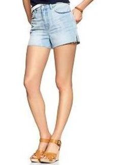 1969 faded raw-edge high-rise denim shorts