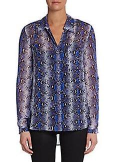 Diane von Furstenberg Lorelei Two Python-Print Silk Shirt
