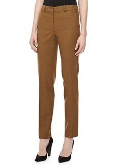 Michael Kors Check Flannel Straight-Leg Pants, Chocolate