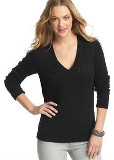 Petite Sequin Cable Sweater