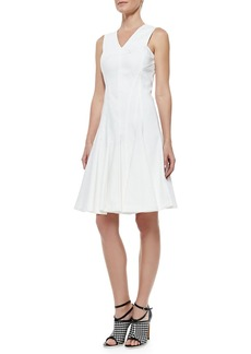 Derek Lam Stretch Cotton Peplum A-Line Dress, White