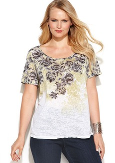 INC International Concepts Plus Size Studded Printed Tee
