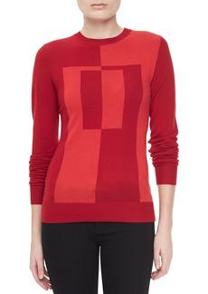 Jason Wu Colorblock Intarsia Crewneck Sweater