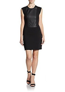 French Connection Faux-Leather Panel Sheath Dress