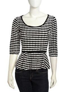 Max Studio Twisted Stripe Pattern Peplum Top, Black/White