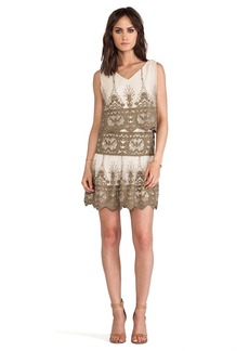 Anna Sui Secret Garden Embroidery Dress in Tan