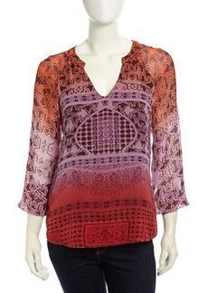 Diane von Furstenberg Mixed-Print Dip-Dye Blouse, Orange/Purple