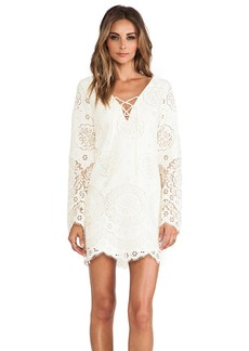 Twelfth Street By Cynthia Vincent Lace Up Bell Sleeve Dress in Ivory