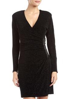 Laundry by Shelli Segal Glitzy Embellished Faux-Wrap Dress, Black