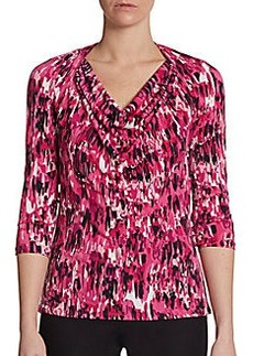 Ellen Tracy Stretch Graphic-Print Cowlneck Top