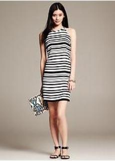 Variegated-Stripe Halter Dress