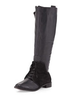 Kooba Serenity Suede/Leather Lace-Up Boot, Black