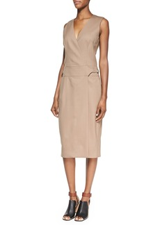 Jason Wu Sleeveless Wool-Blend Gabardine Dress, Tobacco