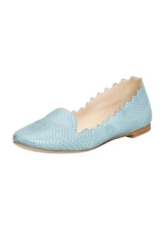 Chloe Scalloped Snakeskin Loafer, Light Blue