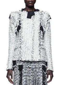 Lanvin Grosgrain-Trim Tweed Jacket, Black/Gray