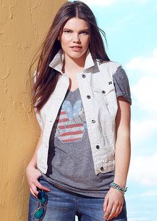 Lucky Brand Plus Size Denim Vest, Alabaster Wash
