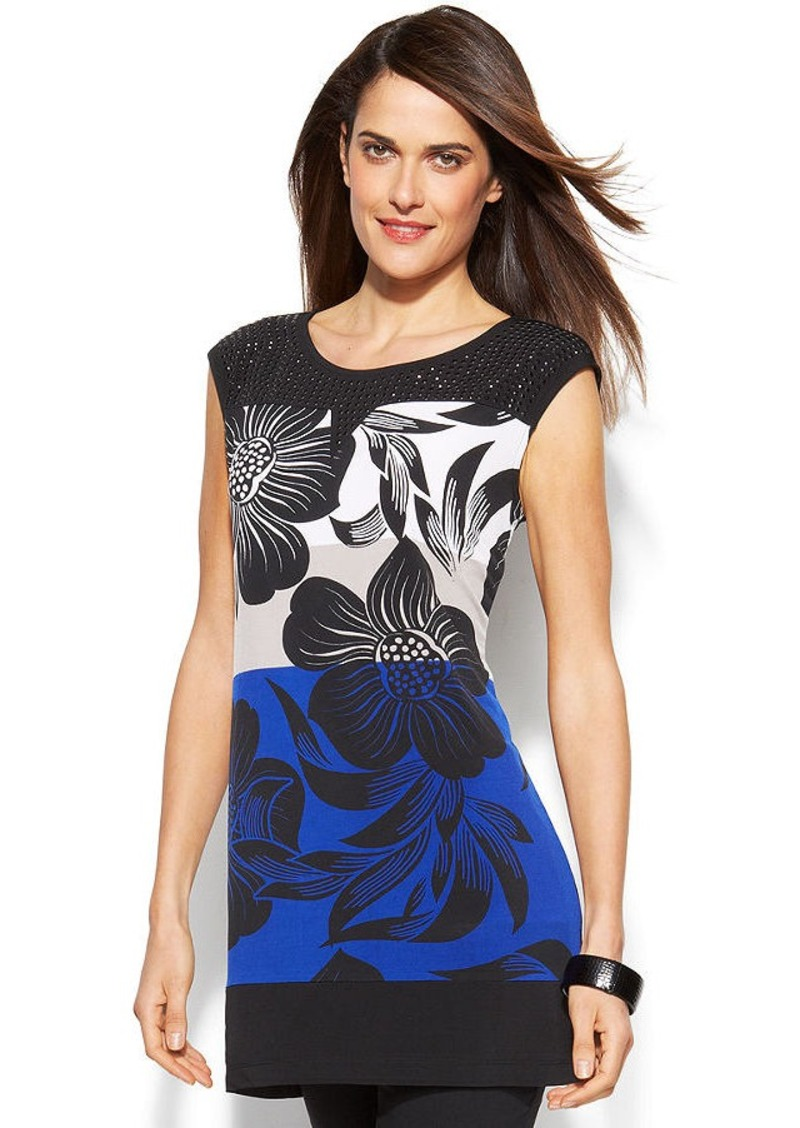 Alfani Embellished Floral Colorblock Tunic