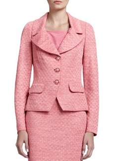 St. John Collection Space-Dyed Damier Fitted Jacket, Flamingo Pink