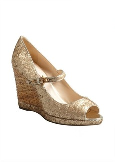 Prada Sport platino glitter fabric peep toe basketweave wedges