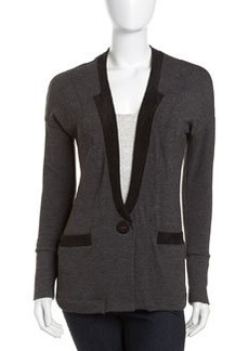 Three Dots Faux-Suede Trim Cardigan, Charcoal