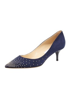 Jimmy Choo Agnes Studded Suede Pump, Navy/Silver