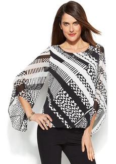 Alfani Petite Angel-Sleeve Graphic-Print Top