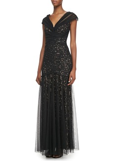 Tadashi Shoji V-Neck Lace and Tulle Gown