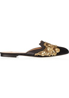 Oscar de la Renta Spanish Mule embellished suede and leather slippers