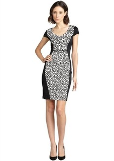 Marc New York black and white fish scale jersey cap sleeve dress