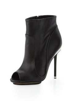 L.A.M.B. Lyssa Layered Peep-Toe Bootie, Black