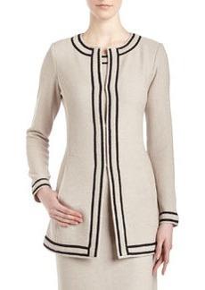 St. John Santana Knit Double-Border Long Cardigan Jacket