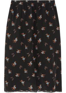 Miu Miu Floral-print silk crepe de chine skirt