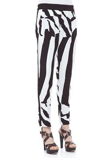 Escada Zebra-Print Pull-On Pants