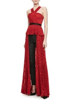JASON WU Draped & Pleated Polka Dot Halter Top