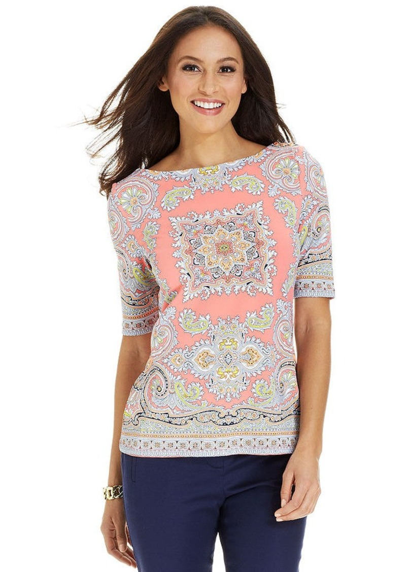 Charter Club Petite Elbow-Sleeve Scarf-Print Boat-Neck Top
