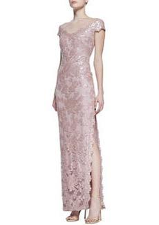 Tadashi Shoji Short Sleeve Sequin & Lace Column Gown, Antique Pink