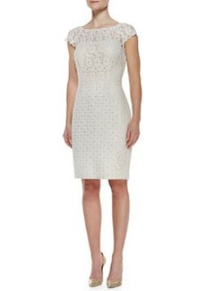 Kay Unger New York Cap-Sleeve Lace & Jacquard Dress, Ivory
