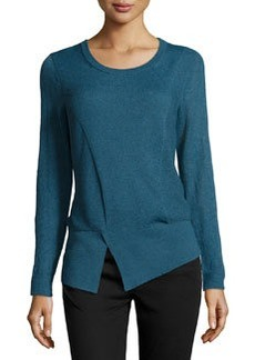 Lafayette 148 New York Mixed-Knit Asymmetric Sweater, Mallard