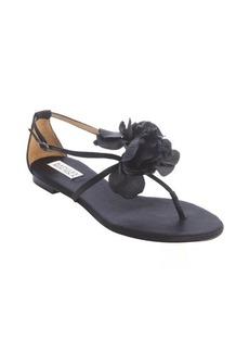 Badgley Mischka black satin rose detail strappy 'Zowie' sandals