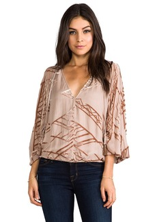 Twelfth Street By Cynthia Vincent Dolman Tie Front Blouse in Blush