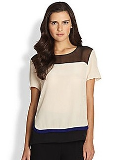 Diane von Furstenberg Becky Semi-Sheer Silk Colorblock Top
