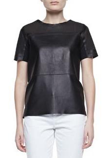 Elie Tahari Sandra Leather Short-Sleeve Cutout Blouse