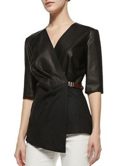 Lafayette 148 New York Leather Combo Wrap Blouse